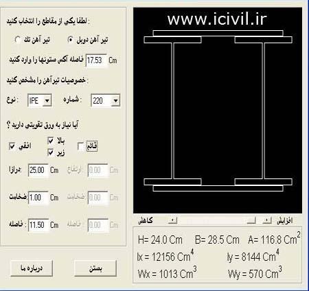 مشخصات تیر آهن